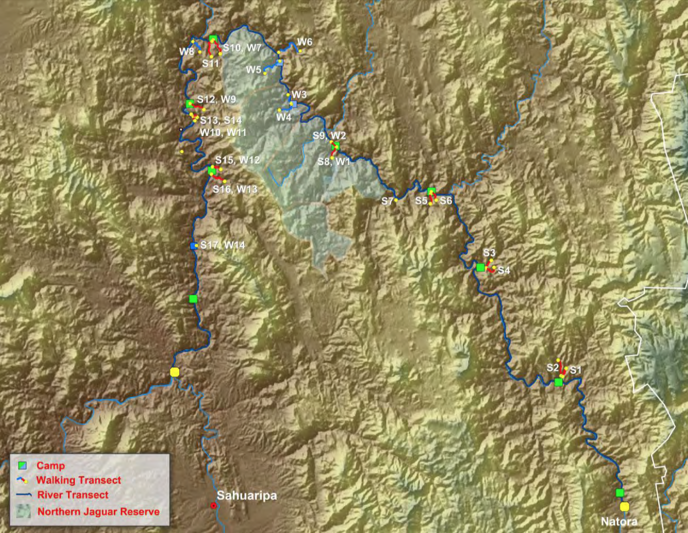 Map of the lower Río Aros and upper Río Yaqui with floating and walking survey transects